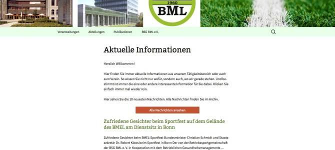 Webseite für die Betriebssportgruppe im Bundesministerium für Ernährung und Landwirtschaft