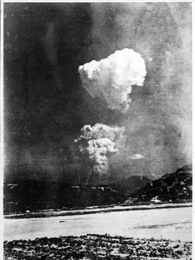 Picture found in Honkawa Elementary School in 2013 of the Hiroshima atom bomb cloud, believed to have been taken about 30 seconds after detonation of about 10km (6 miles) east of the hypocentre.