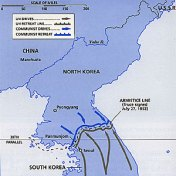 Panmunjom, the border village in Korea, is the location of truce talks between the parties of the Korean War.