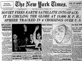Sputnik becomes the first artificial satellite, launched by the Soviet Union on October 4, marking the start of the space race.
