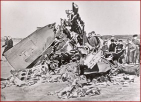 Wreckage of American U-2 spy plane piloted by Francis Gary Powers shot down over Soviet air space, May 1, 1960. Credit: Dwight D. Eisenhower Library , National Archives and Records Administration
