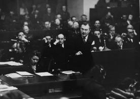 International Military Tribunal Nuremberg Chief American prosecutor Justice Robert Jackson delivers the opening speech of the American prosecution at the International Military Tribunal trial of war criminals at Nuremberg. Date: Nov 20, 1945 - Oct 1, 1946 Locale: Nuremberg, [Bavaria] Germany Photographer: No provenance Credit: Harry S. Truman Library, courtesy of USHMM Photo Archives