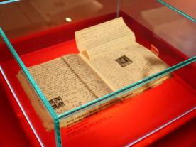 The Diary of a Young Girl on display at the Anne Frank Zentrum in Berlin, Germany.