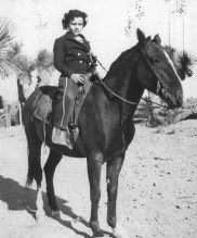 oung Sandra Day (O'Connor) astride her childhood horse Chico.
