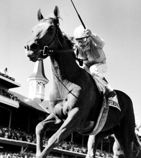Jockey Willie Shoemaker raises his whip as he rides his mount Ferdinand to win the Kentucky Derby, May 3, 1986, at Louisville, Kentucky.