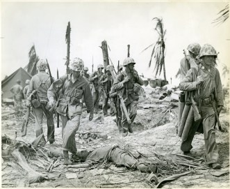 Marines of the 4th Division mop up after taking Roi-Namur Island at Kwajalein Atoll, February 1944.