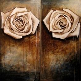 Roses d'octobre (2 panneaux de 61 x 122 cm)