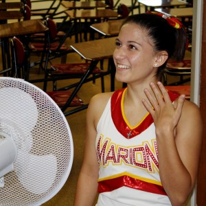 Sheala tries to keep cool during the school day before the game.