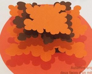"""Carte pop-up Arbre cèdre """"Automne"""", détail de l'arbre"""