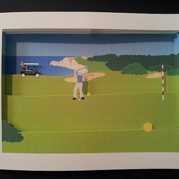 Diorama sur le thème du golf, détail