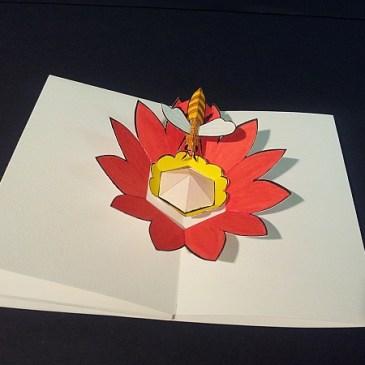 """Livre-anniversaire pop-up """"Apiculture"""", pop-up abeille et fleur"""