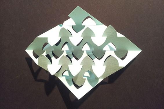 Essai de pliage pop-up motif poisson, verso