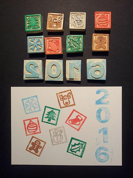 Tampons faits à la main et essai de tamponnage, motifs Noël pour les cartes de voeux 2016