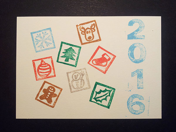 Essai des tampons motifs Noël pour les cartes de voeux 2016