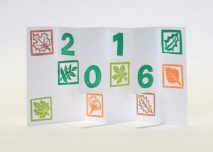 Carte de vœux 2016 kirigami, motifs Arboriculture, modèle 3