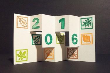 Carte de voeux 2016, kirigami 3, motifs arboricoles