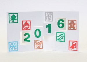 Carte de vœux 2016 kirigami, motifs Noël, modèle 1