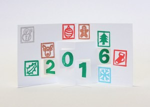 Carte de vœux 2016 kirigami, motifs Noël, modèle 2