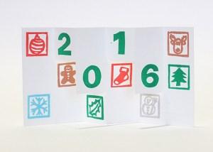 Carte de vœux 2016 kirigami, motifs Noël, modèle 3
