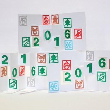 Carte de vœux 2016 kirigami, motifs Noël, vue des 3 modèles