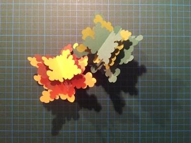Arbres cèdres montés, avant collage sur carte support, été et automne