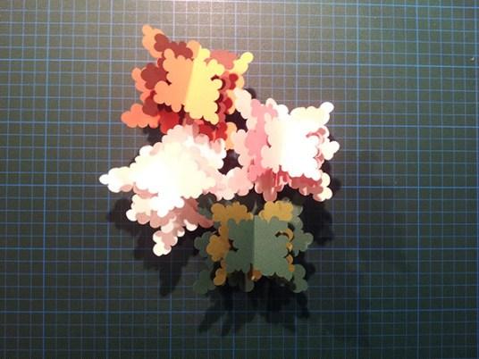 Arbres cèdres montés, avant collage sur carte support, 4 saisons