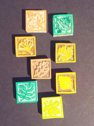 Tampons cartes de voeux 2016, faits main, motifs arboricoles
