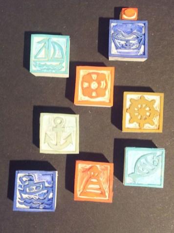Tampons cartes de voeux 2016, faits main, motifs Marine