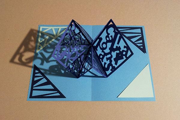 Carte Carré d'anniversaire, abstrait bleu, avant montage