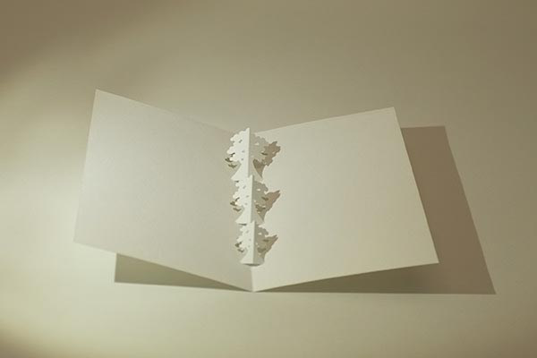 Carte kirigami Arbres, dessus