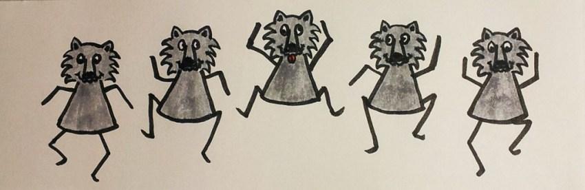 Etudes dessins du flip book loup dansant, page 1 projet de livre pop-up