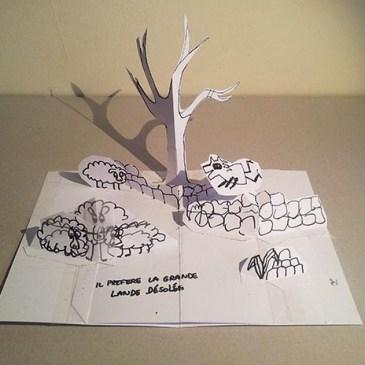 """Projet livre pop-up """"Variation pour un loup et un jardin potager"""", maquette p. 4, février 2016, face"""