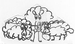 """Projet livre pop-up """"Variation pour un loup et un jardin potager"""", maquette p. 4, février 2016, détail moutons, version brouillon"""