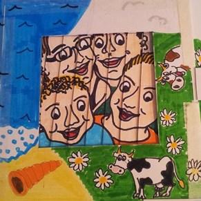 Carte d'anniversaire personnalisée en pop-up, version de travail démontable. Portrait de famille, position 2.