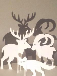 Décorations de Noël, cerf, bouquetin, renard, papier blanc, vue de face