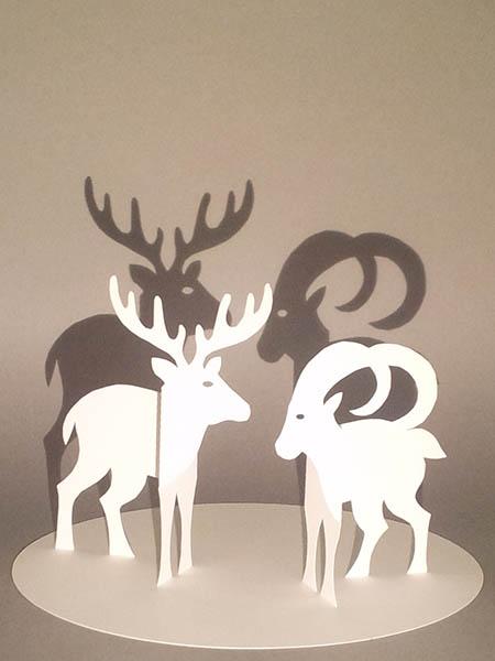 Décorations de Noël, cerf, bouquetin, papier blanc, vue de face