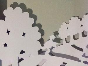 Projet de livre pop-up, Le bonheur… d'après Paul Fort, Flammarion Jeunesse. Détail pop-up strophe 2, personnage courant