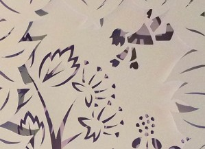 Projet de livre pop-up, Le bonheur… d'après Paul Fort, Flammarion Jeunesse. Détail pop-up strophe 3, personnage tombant et ache
