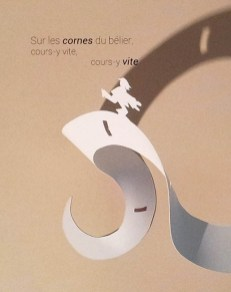 Projet de livre pop-up, Le bonheur… d'après Paul Fort, Flammarion Jeunesse. Détail pop-up strophe 4, extrait du texte et personnage