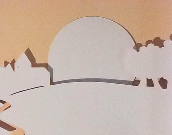 Projet de livre pop-up, Le bonheur… d'après Paul Fort, Flammarion Jeunesse. Détail pop-up strophe 7, soleil couchant