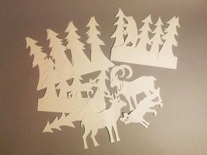 décorations de table ou de cartes cadeaux, papier blanc, vue d'ensemble