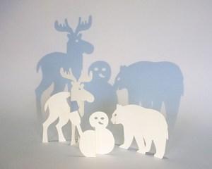Saynète 3 sujets avec élan, ours et bonhomme de neige