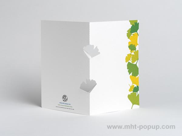 Carte kirigami Ginkgos avec frise dessinée verte, dos