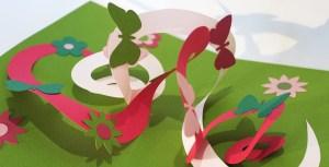 Carte pop-up spirales croisées motifs printemps
