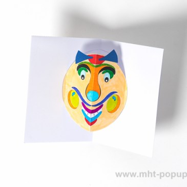 Carte Masque du Vietnam Grosses joues, DIY à colorier soi-même, intérieur carte coloriée
