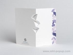 Carte kirigami Eventails avec frise dessinée mauve, dos