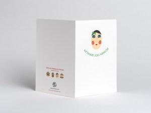 Carte Masques du Vietnam, M'dame Joli minois, dos carte ouverte
