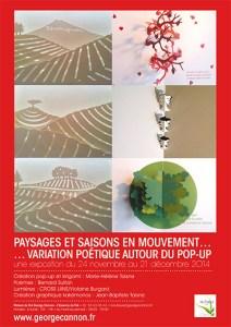 Affiche pour l'exposition de cartes pop-up à L'Essence du thé 2014
