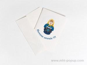 Carte de vœux Matriochkas modèle bleu, recto avec enveloppe