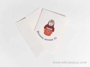 Carte de vœux Matriochkas modèle rouge, recto avec enveloppe